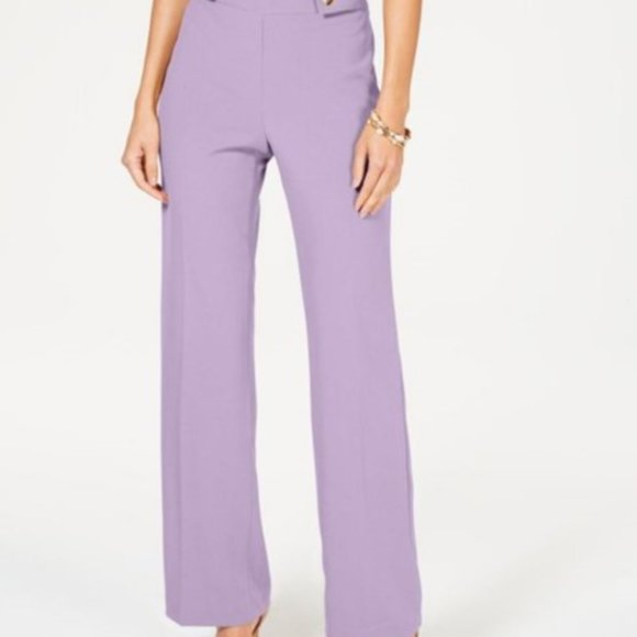 INC Wide-Leg Hardware-Detail Pants Lilac Moon 8